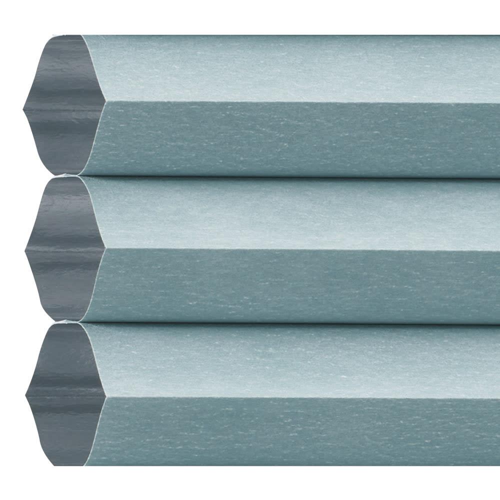 遮光・遮熱ハニカム構造の小窓用シェード(つっぱりポール付き) (エ)グレイッシュブルー(裏面:ホワイト)
