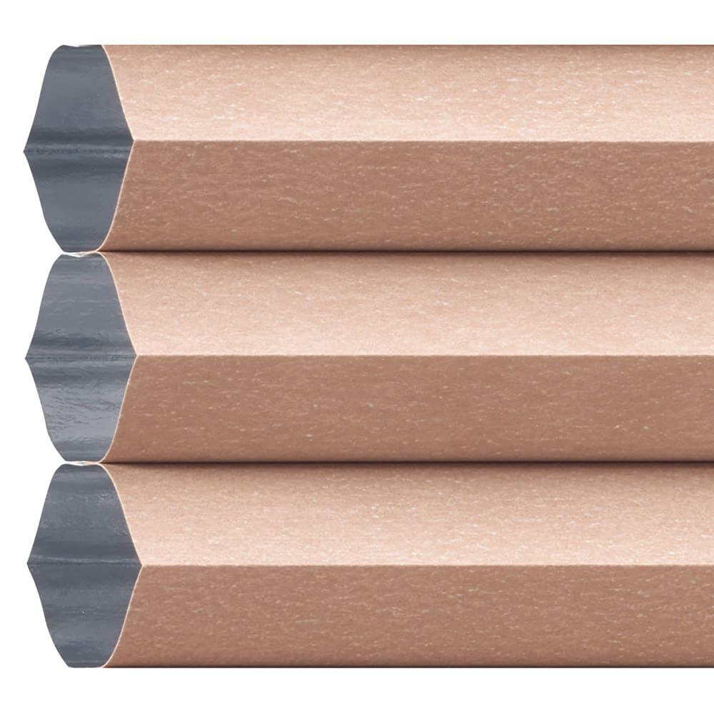 遮光・遮熱ハニカム構造の小窓用シェード(つっぱりポール付き) (ウ)ライトブラウン(裏面:ホワイト)