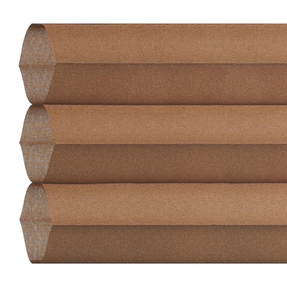 ハニカム構造の小窓用シェード(つっぱりポール付き) (エ)ブラウン