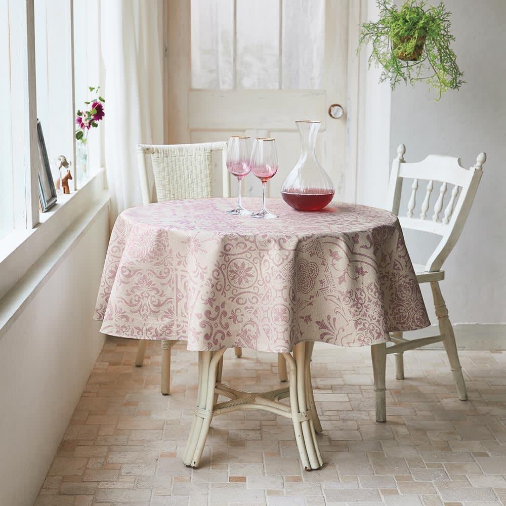 スペイン製はっ水テーブルクロス〈テスタ〉 円形・径約150cm (イ)ピンク