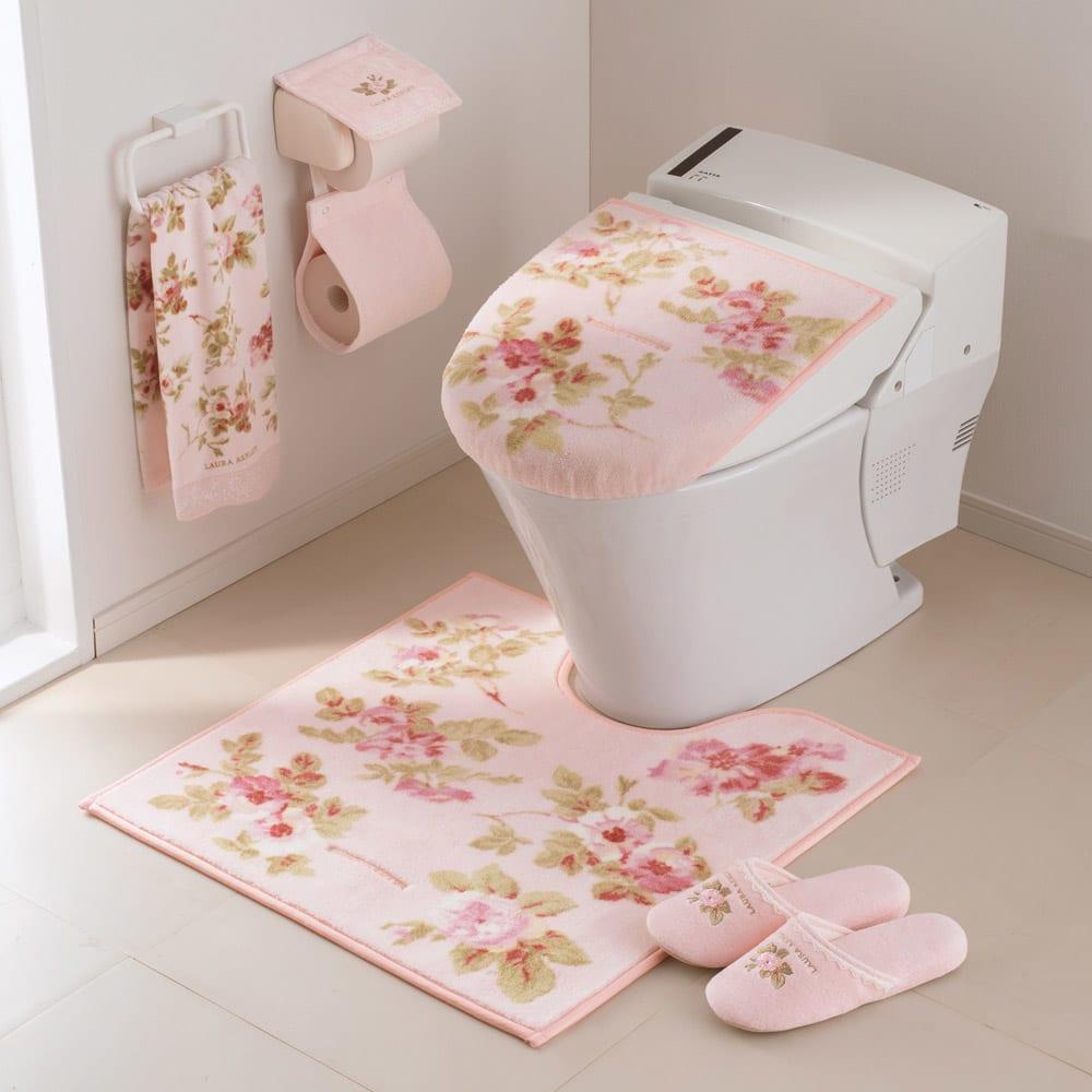 ローラ アシュレイ トイレタリー〈アンジェリカ〉 トイレマット単品 コーディネート例 普通判(イ)ピンク系 ※お届けはトイレマット単品です。
