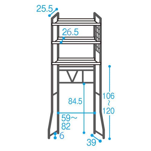 まるでホテル 透き通る棚板のスタイリッシュランドリーラック 棚3段 ≪内寸図≫はこちらをご確認ください。※最下段の棚板は120cmよりも高く設定可能です。その際棚間がせまくなる場合があります。