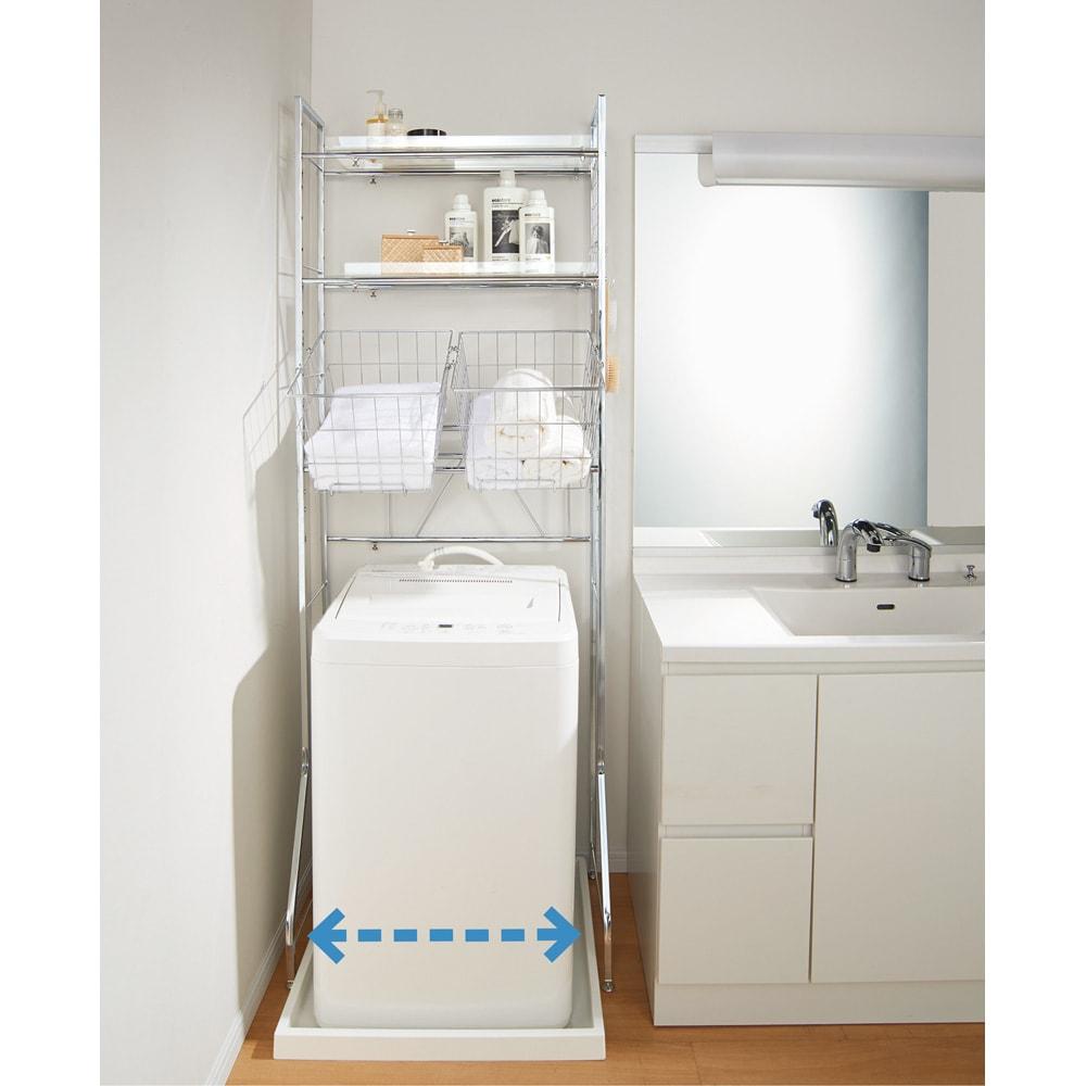 まるでホテル 透き通る棚板のスタイリッシュランドリーラック 棚3段 縦型洗濯機にぴったりと付けてコンパクトに。