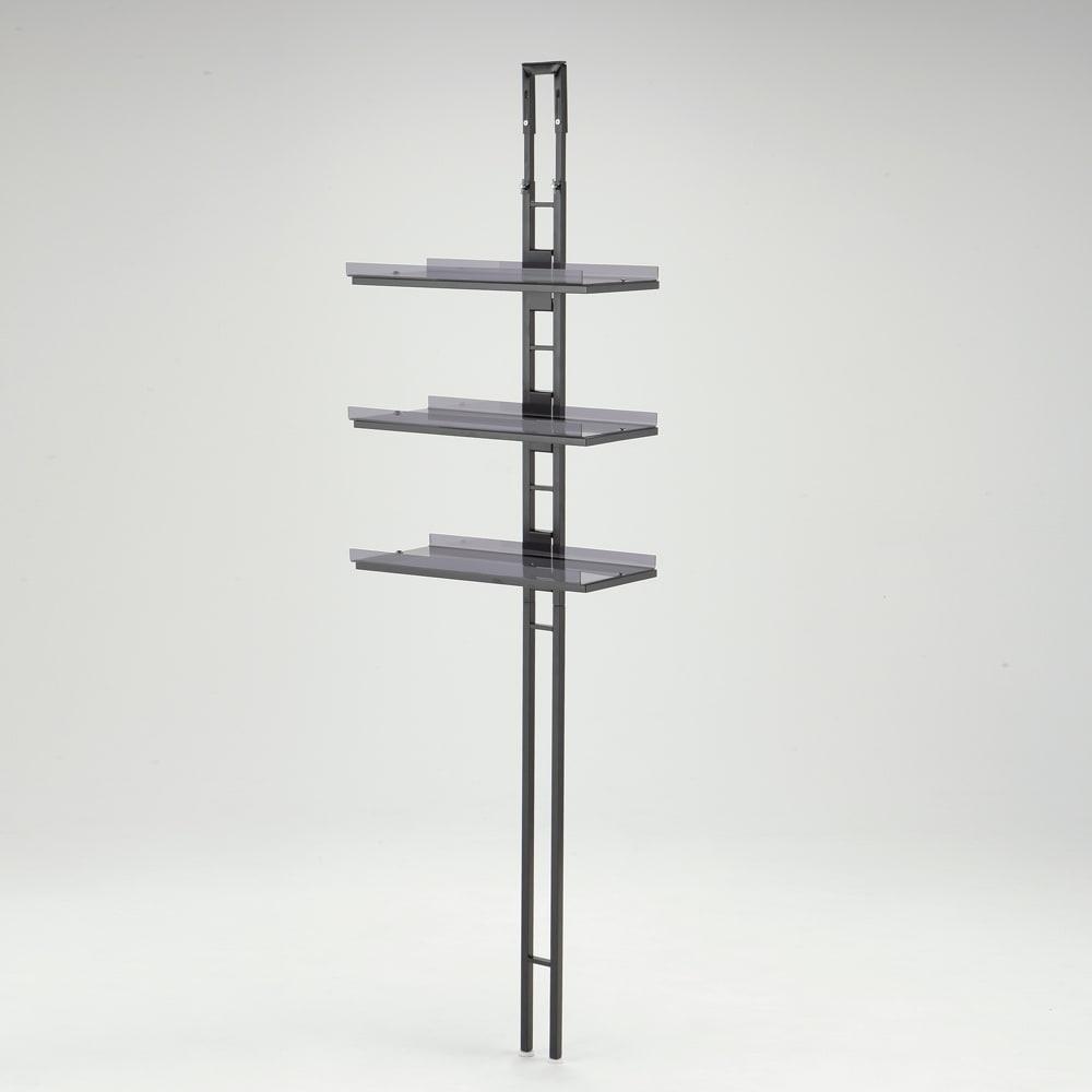 1本脚ですっきり置けるモダンランドリーラック 棚3段 幅60cm 奥行31cm (ア)ブラック