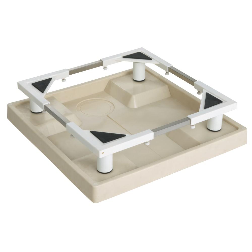 洗濯機底上げ台 洗濯機の大きさに合わせて伸縮できるので、上開きの洗濯機でもドラム式洗濯機でも設置できます。(縦:37~61cm、横:37~61cm) ※防水パンは付属していません。
