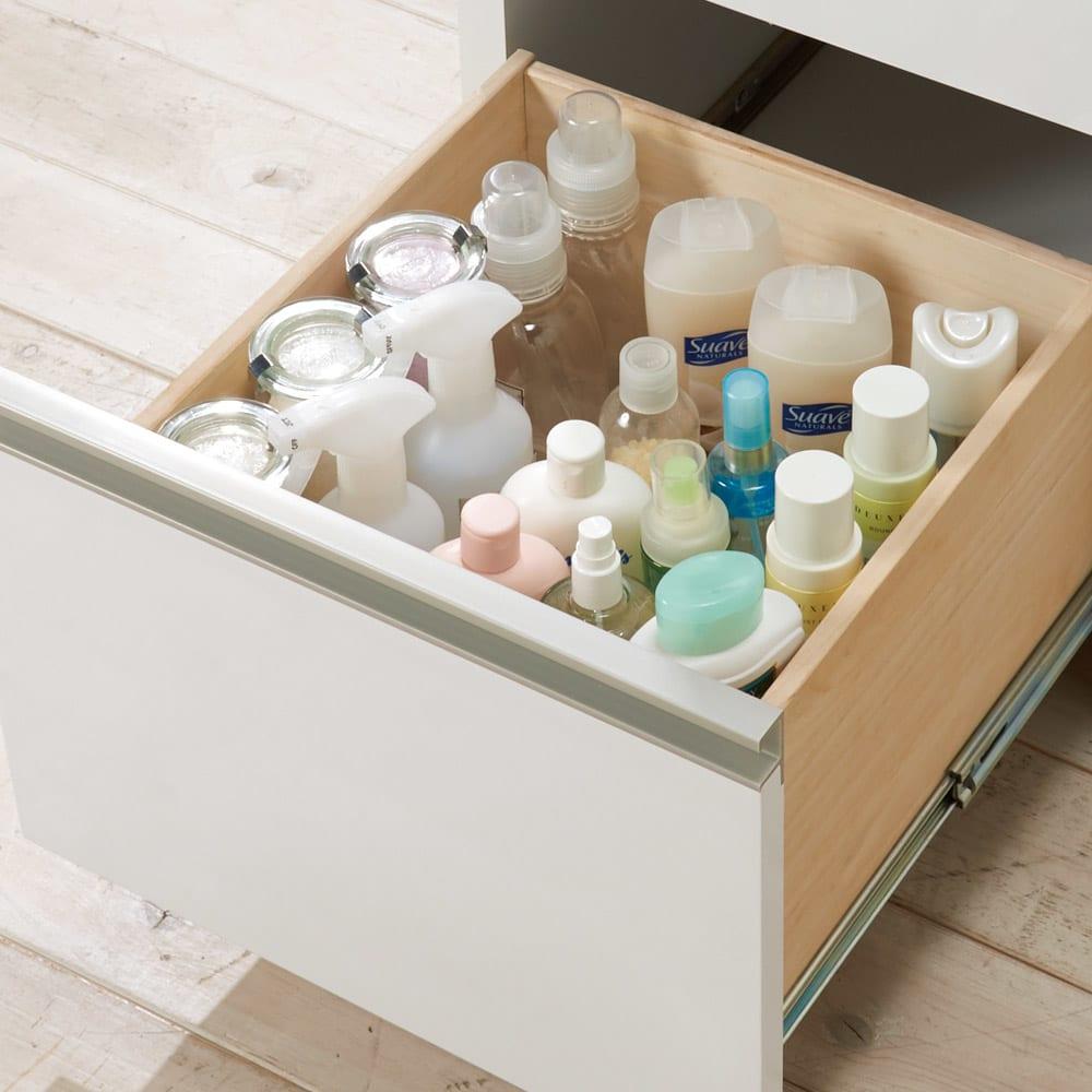 引き出しいっぱい洗面所チェスト 幅60奥行30cm 最下段はボトルなど背が高いものも。(内寸高さ27.5cm)