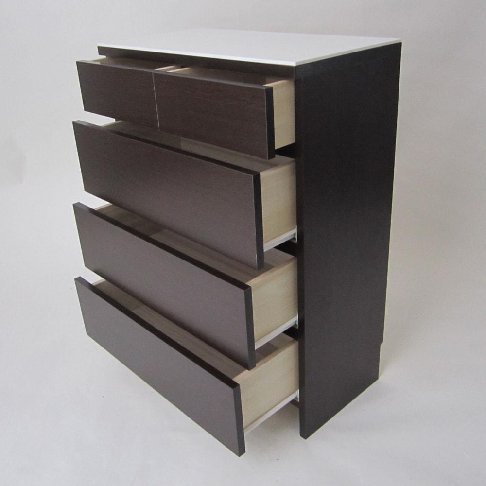 汚れに強い人工大理石トップ(天板)の薄型ランドリーチェスト 幅60cm 引出しは最上段を除いて全てストッパー付きスライドレール仕様になっているのでスムーズです。  ※写真は幅75cmタイプです。