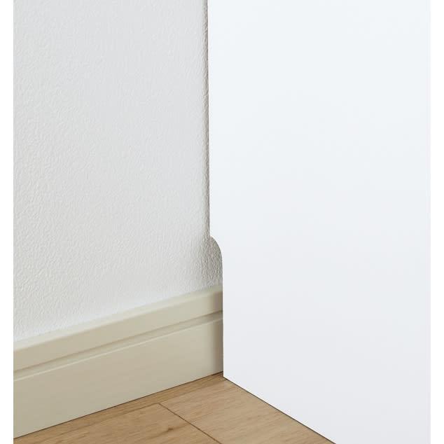 組立不要 たっぷりハウスキーピング収納庫 幅75・奥行45cm 幅木よけで壁にぴったりと付けて設置ができます。