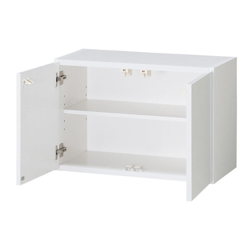 光沢仕上げ洗濯機上吊り戸棚 横型 幅59.5cm 洗濯機上には収納棚が便利です。洗剤のストックから、タオル収納まで便利にお使いいただけます。