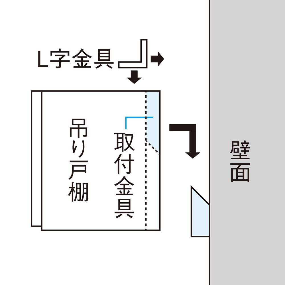 光沢仕上げ洗濯機上吊り戸棚 横型 幅59.5cm 組立不要で取り付けが簡単です。 ※はじめに、壁面(芯のあるところ)に受部を取り付けてください。※背面部がくさび型の差し込み口になっており、差し込み後、落下防止のL字金具を必ず付けてください。