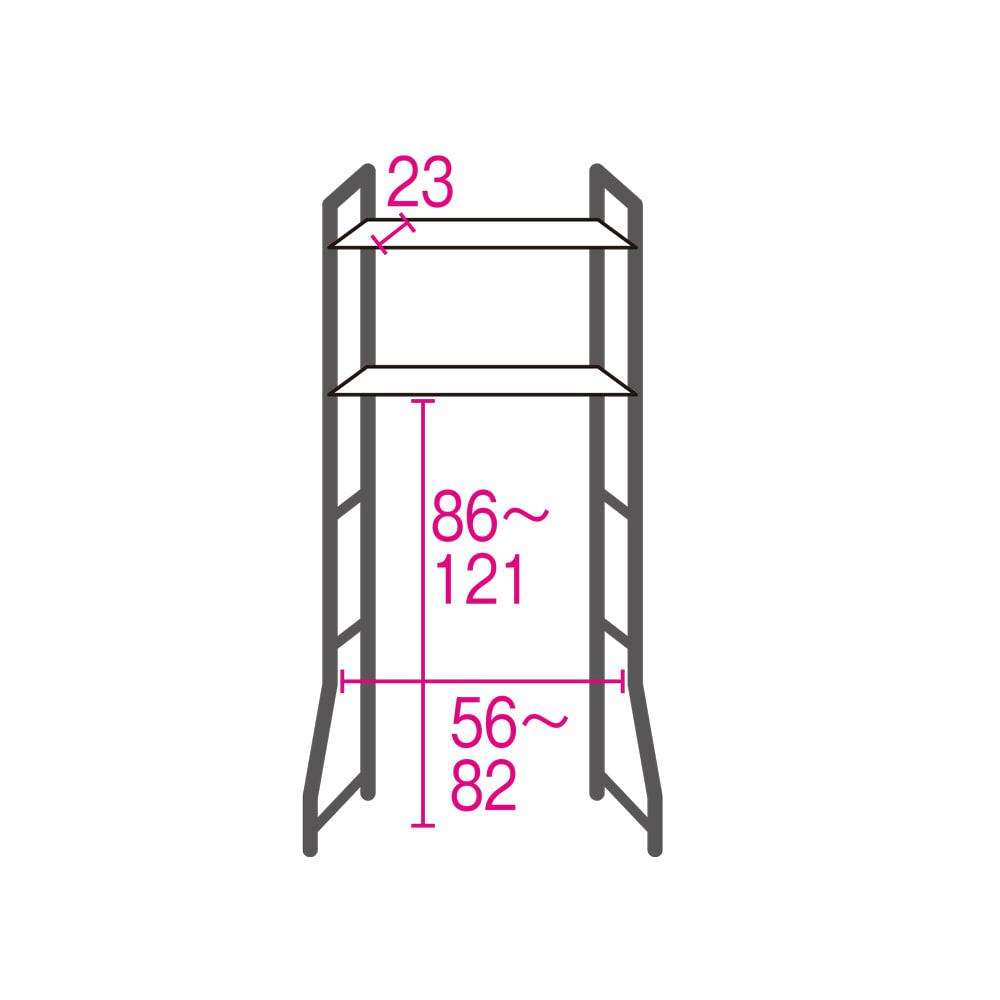ブルックリン風トイレラック 棚3段 詳細図(単位:cm) 棚板は7cm間隔で高さ調節可。