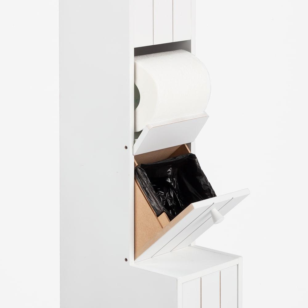 ペーパーが取り出しやすいトイレ収納庫 ハイ 幅14cm 奥行23cm 高さ125cm ごみ袋がセットしやすい溝付き。