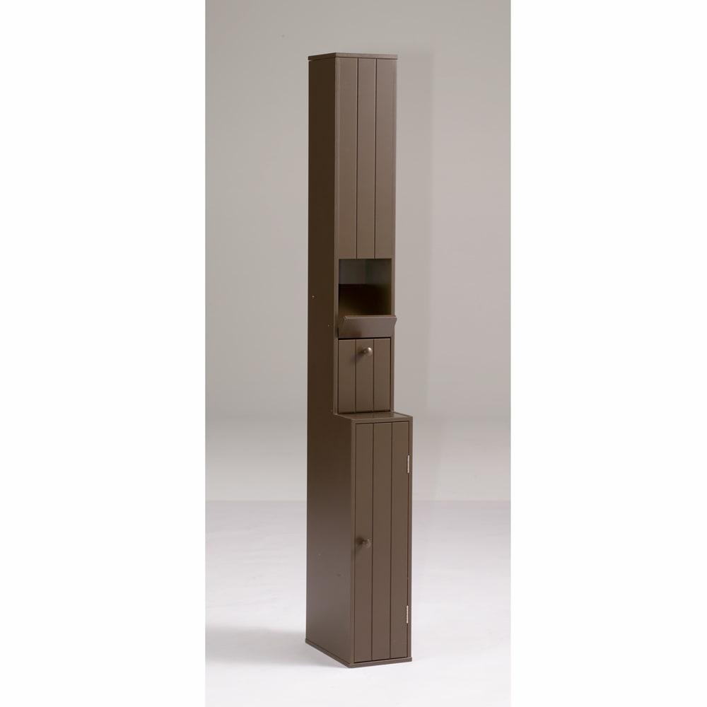 ペーパーが取り出しやすいトイレ収納庫 ハイ 幅14cm 奥行23cm 高さ125cm (イ)ダークブラウン