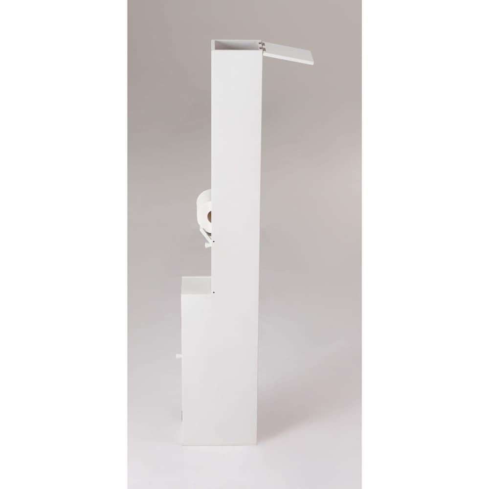 ペーパーが取り出しやすいトイレ収納庫 ハイ 幅14cm 奥行23cm 高さ125cm (ア)ホワイト
