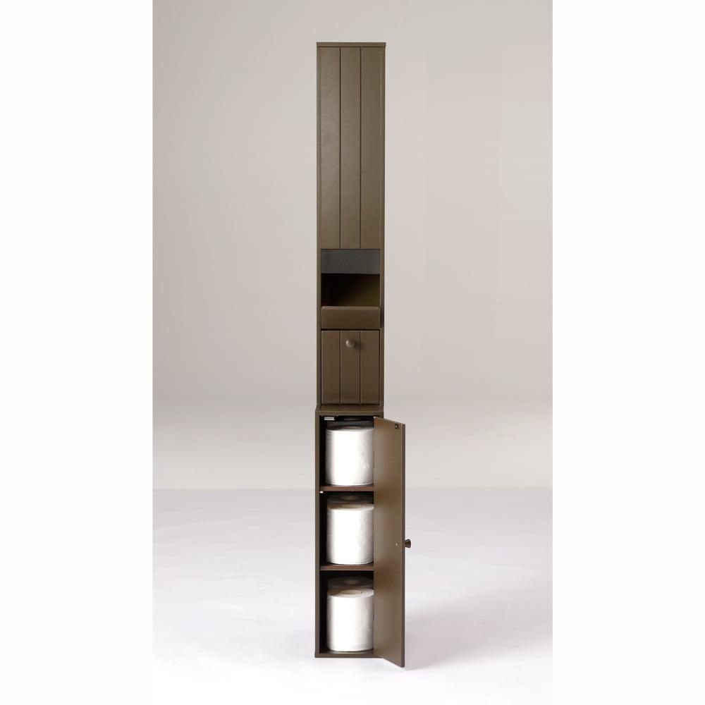 ペーパーが取り出しやすいトイレ収納庫 ハイ 幅14cm 奥行23cm 高さ125cm (イ)ダークブラウン 下段扉内には、前後2列に6ロールが収納可能。ストック部も合わせると計11個入ります。