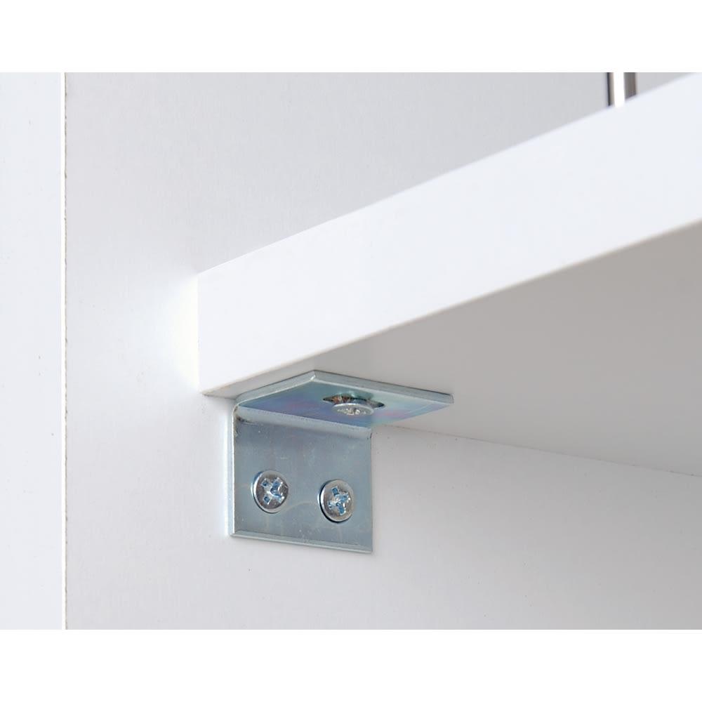 頑丈ボックス付き隙間収納ワゴン 奥行55cmタイプ 幅35cm 固定棚の裏側に取付けられているL字金具によって棚板の頑丈さアップ!