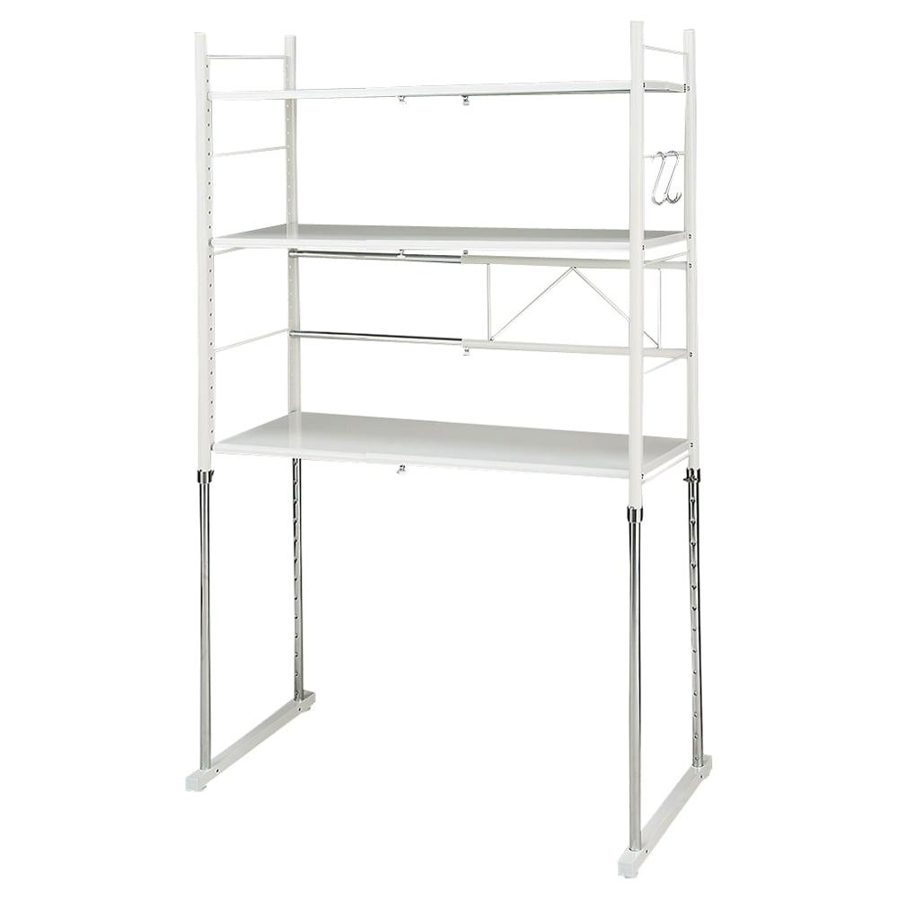 幅と高さが伸縮するキッチンラック 3段 (イ)ホワイト