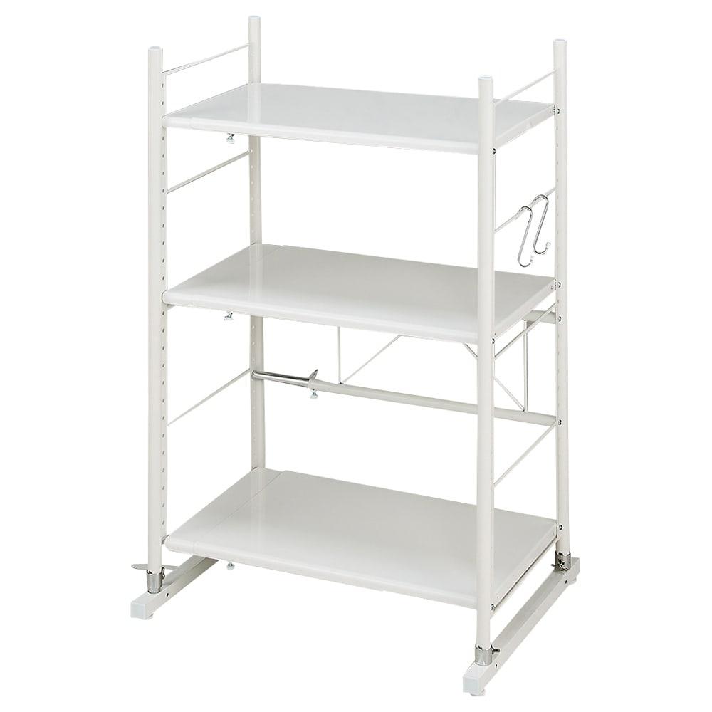 幅と高さが伸縮するキッチンラック 3段 最少時:幅約71cm高さ117.5cmになります。