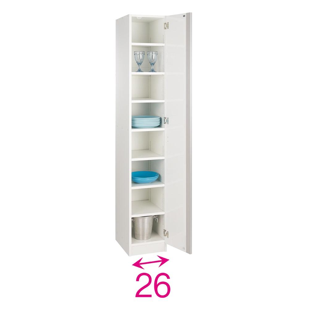 食器のサイズに合わせて選べる食器棚 幅30cm奥行42cm高さ180cm 扉は左右どちら開きにも設定可能。収納部の内寸奥行38cm。※赤文字は内寸(単位:約cm)
