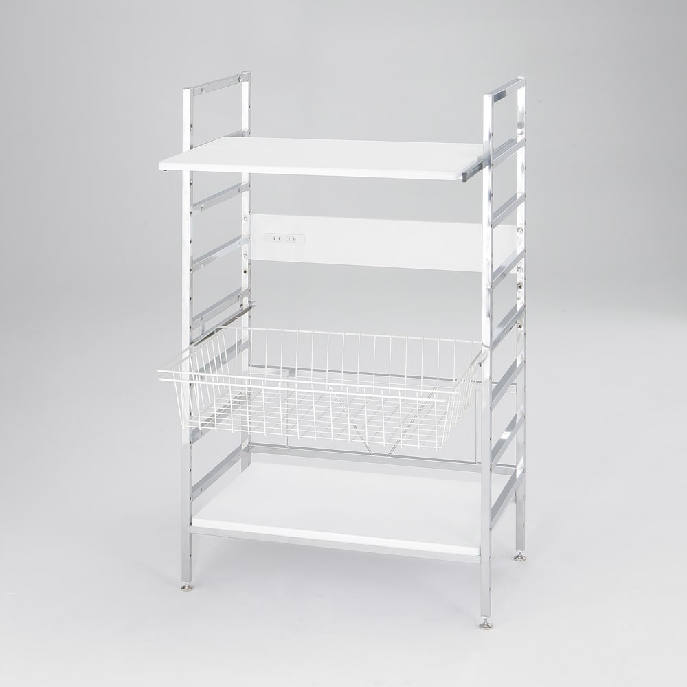 スタイリッシュなキッチン家電ラック ミドル 幅75.5cm 高さ122cm (イ)ホワイト