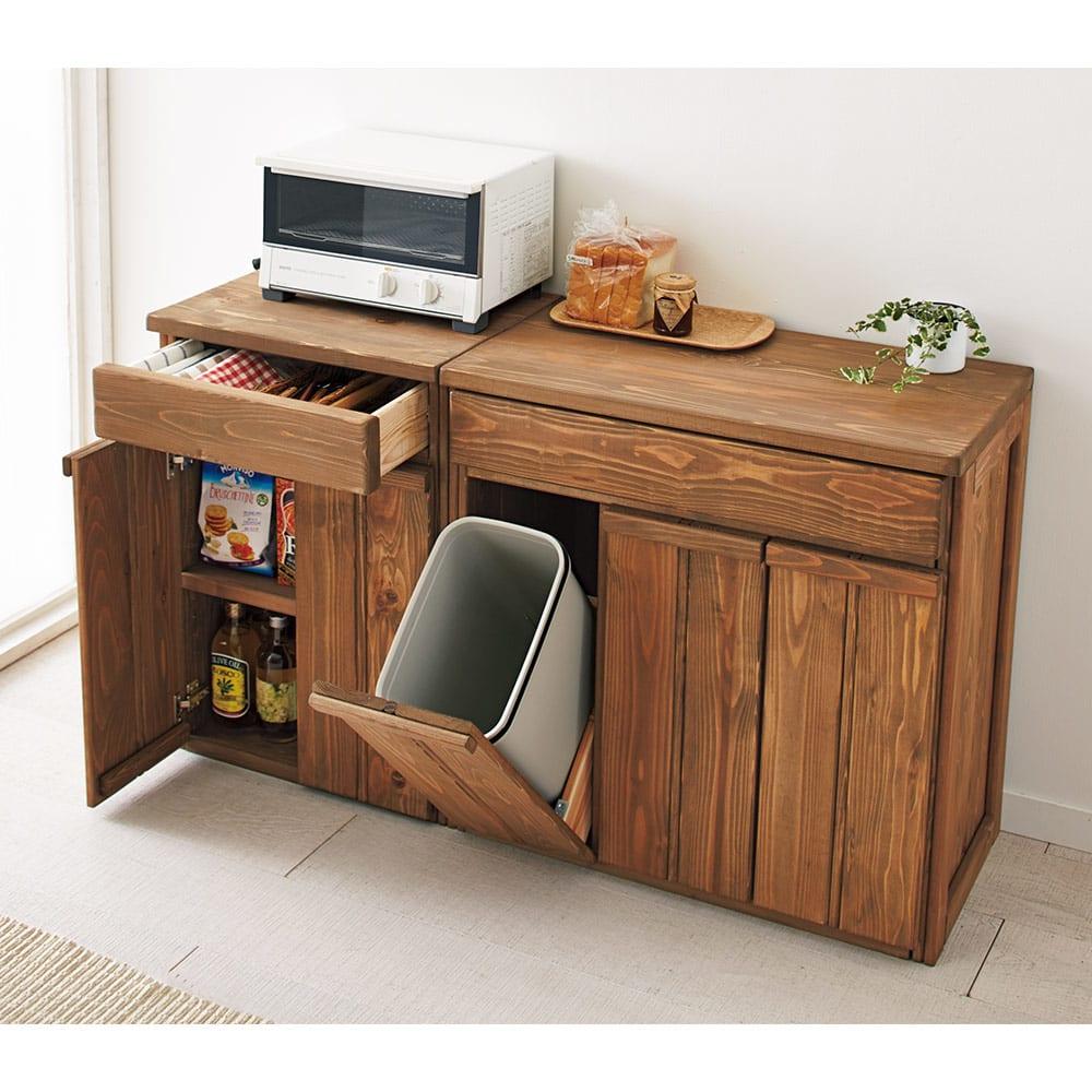 国産杉の頑丈キッチンラックシリーズ 収納庫 幅49cm シリーズ品と合わせて、トータルコーディネートでのご使用もおすすめです。