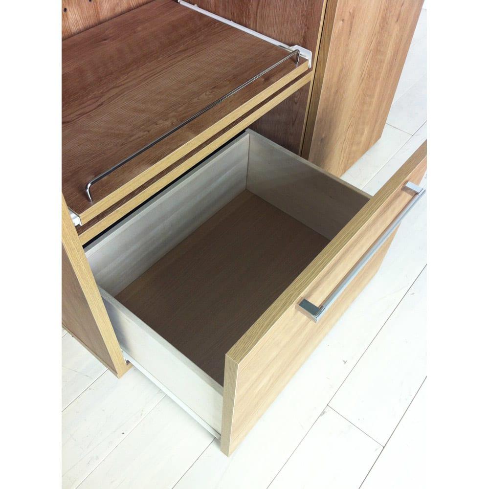 やさしい天然木風デザインの隠せる家電収納庫 ハイタイプ 奥行45.5cm