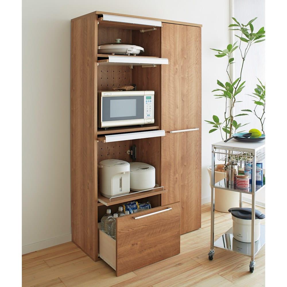 やさしい天然木風デザインの隠せる家電収納庫 ハイタイプ 奥行45.5cm (ア)ブラウン
