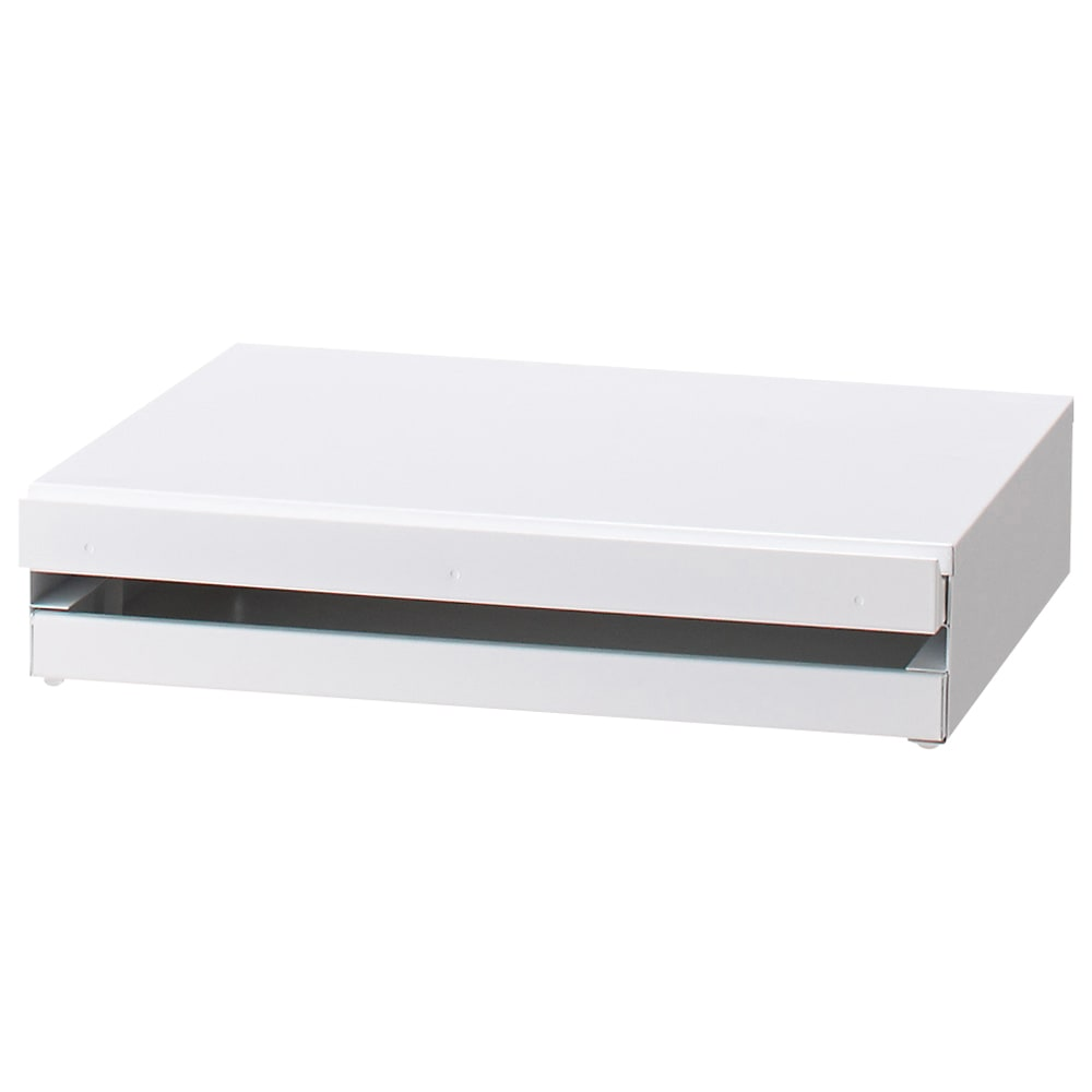 家電周りでの調理をサポートするレンジ下スライドテーブル 引き出し付き 幅45高さ10cm スライドテーブルは指をかけて引き出しやすいよう天板より少し前にでた設計になっております。