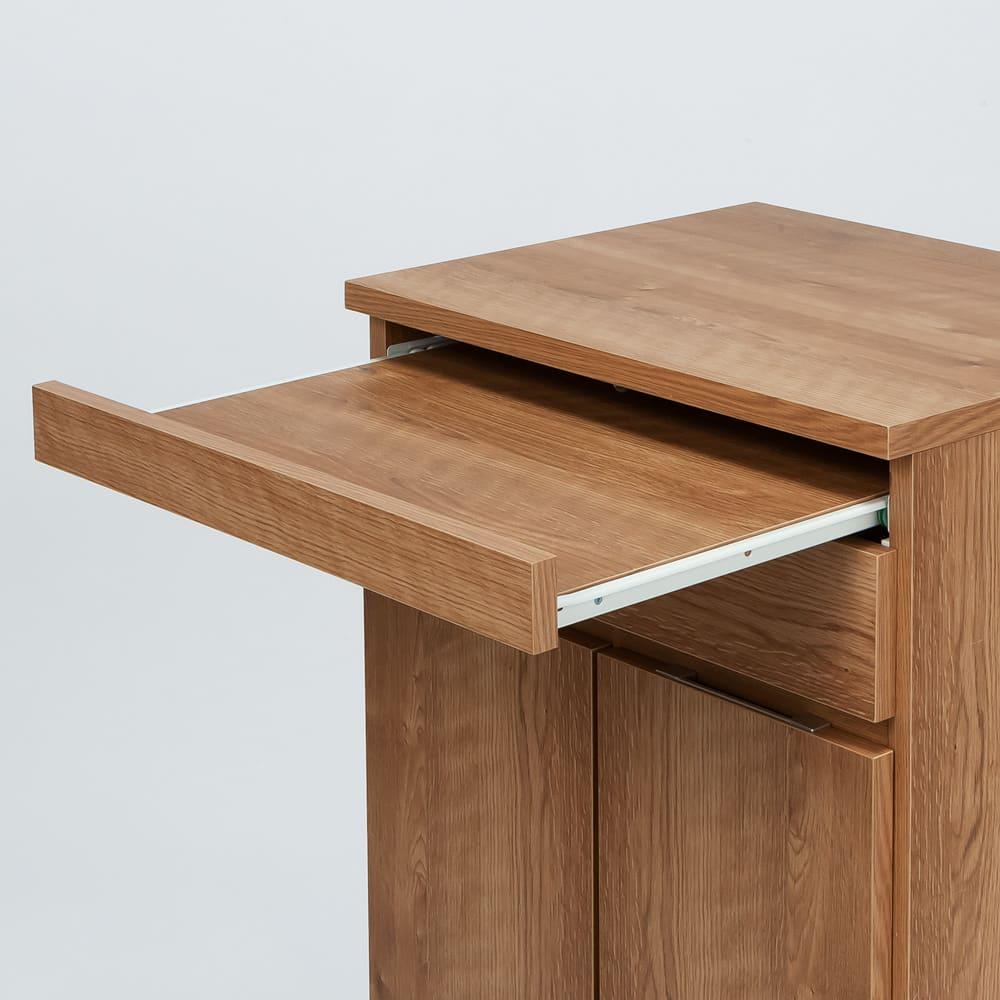 ふた開閉機能付き分別ダストボックス 3分別 幅73.5cm ちょっと置きや作業台に、調理中にも使いやすいプッシュ式のスライドテーブル。約26cm引き出せます。