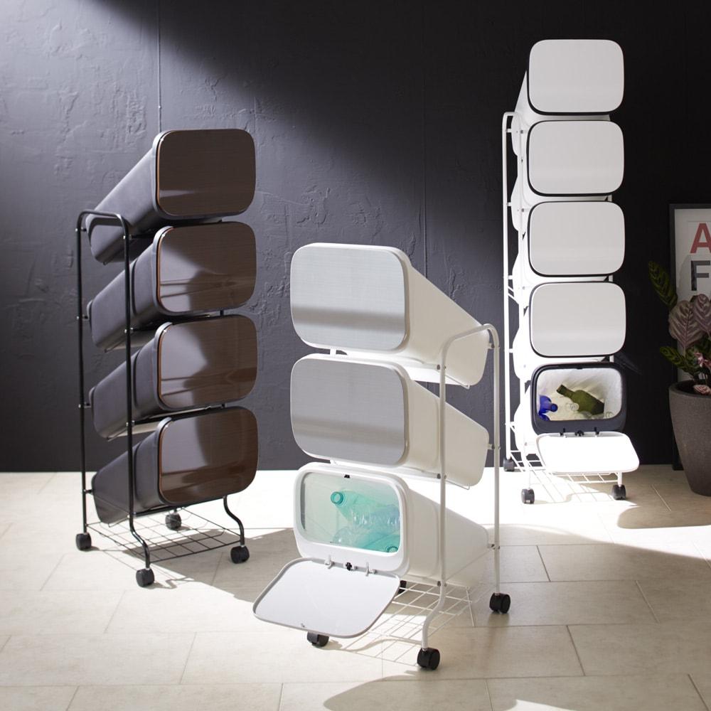 省スペース!高機能インテリアタワーダストボックス  5段・高さ147cm スタイリッシュなダストボックスで、キッチンを洗練された空間に。