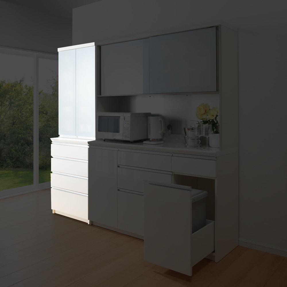 サイズが豊富な高機能シリーズ 食器棚引き出し 幅80奥行45高さ187cm/パモウナ JZ-S800K