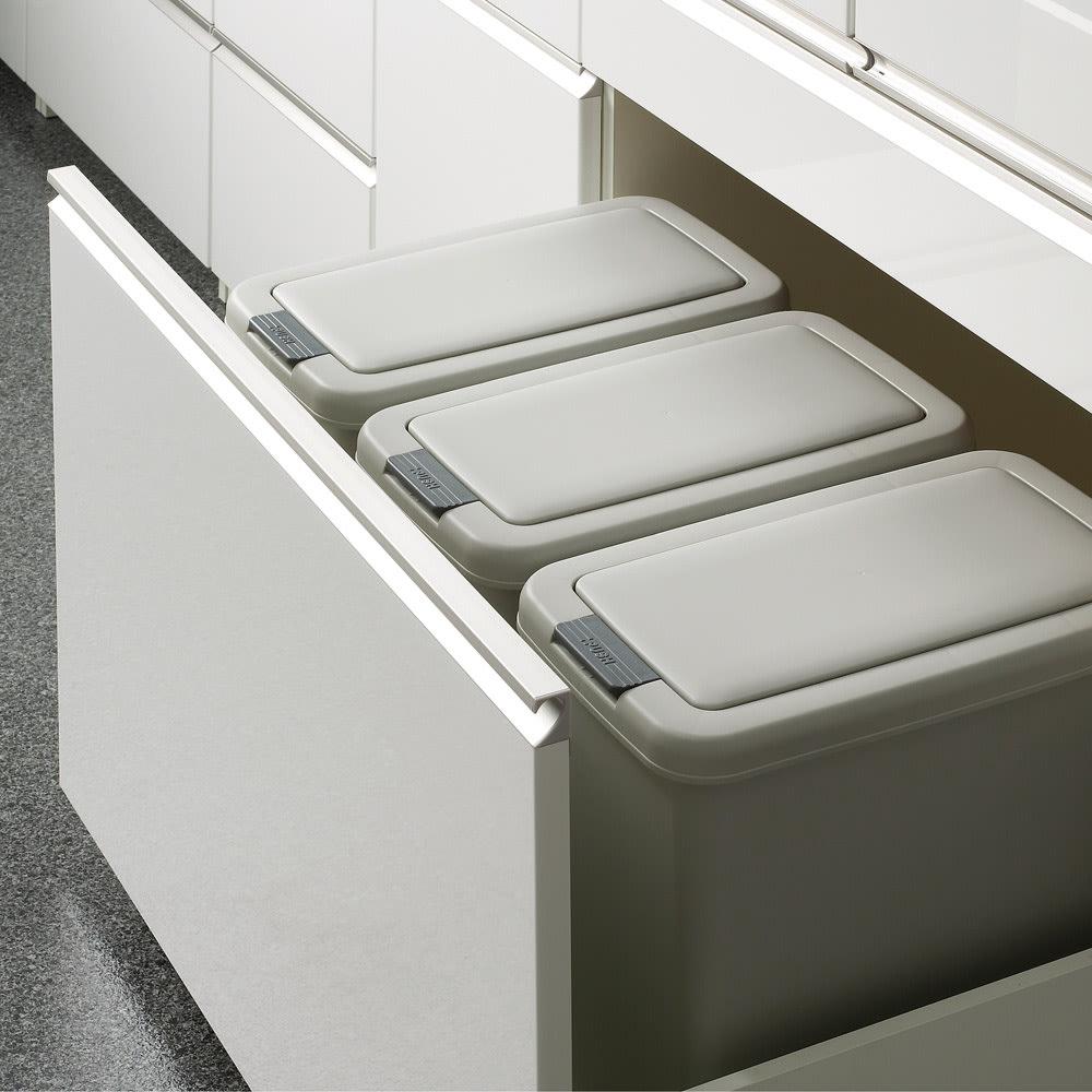 サイズが豊富な高機能シリーズ 板扉タイプ 食器棚深引き出し 幅80奥行50高さ198cm/パモウナ CZ-801K 深引き出しタイプには、WEB限定別売りダストボックスが納められます。