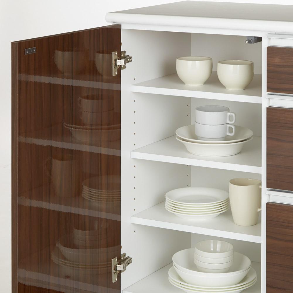 幅オーダー光沢カウンターシリーズ 家電タイプ ハイタイプ(高さ102cm) 幅90~160cm(幅1cm単位オーダー) 棚板は3cm間隔で高さ調節が可能。食器棚や食品ストッカーとしてお使いいただけます。