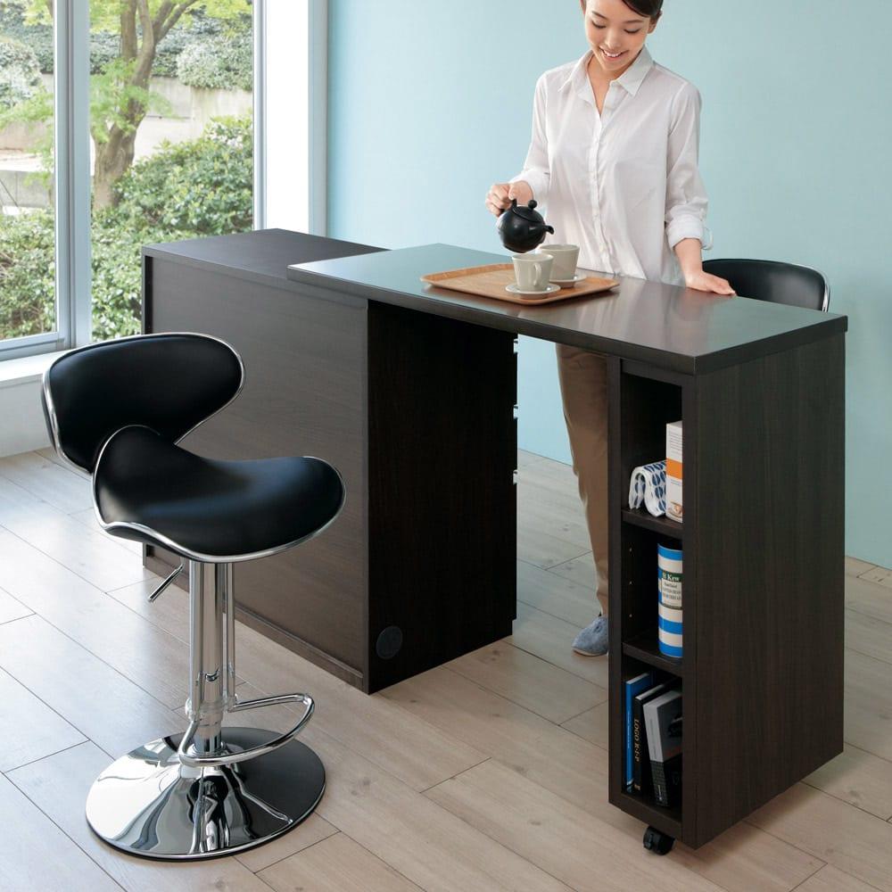 簡単に幅調節可能!スライド伸長式カウンター幅91~126cm 家電タイプ スライドしないでも使えます。※写真は幅119~182cmタイプです。