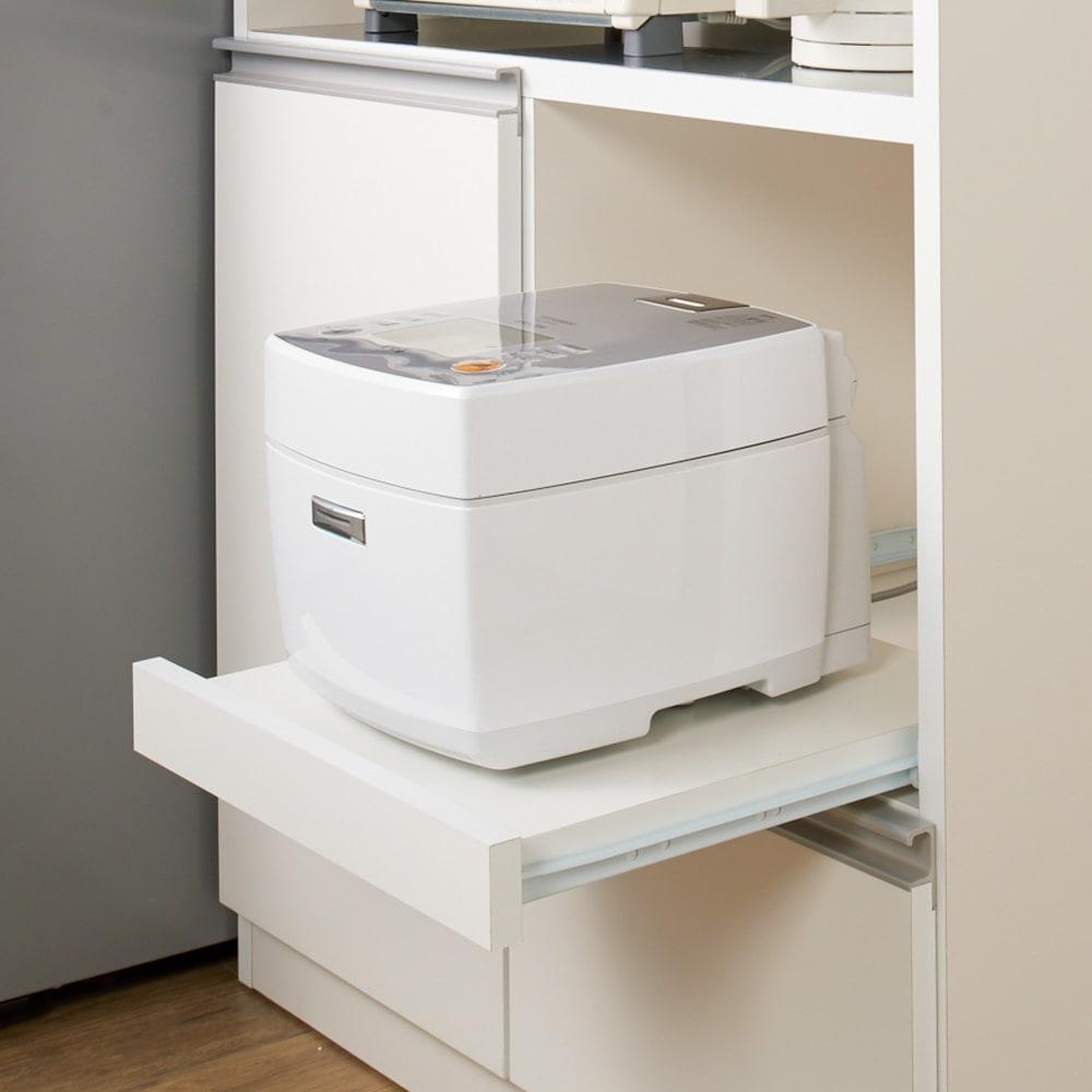ステンレス天板 コンパクトカウンター 幅60奥行48.5cm 炊飯器が使いやすいスライドテーブル。