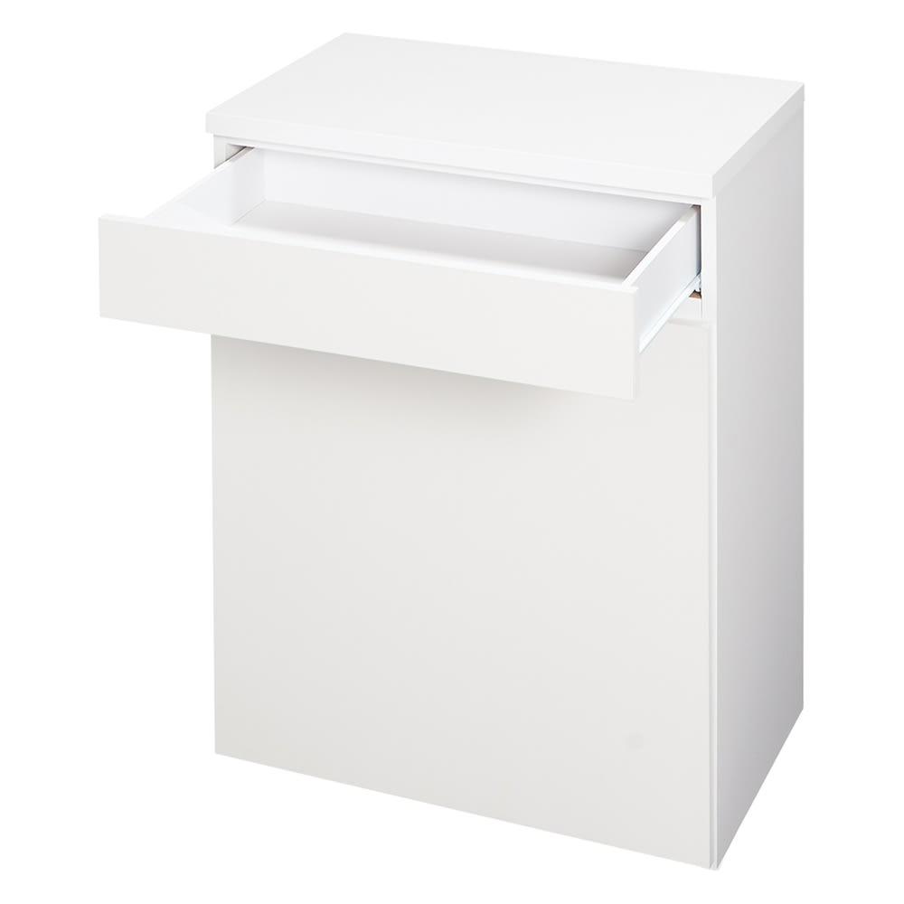 大型45Lダストボックス付きキッチンボード ロータイプ (ア)ホワイト