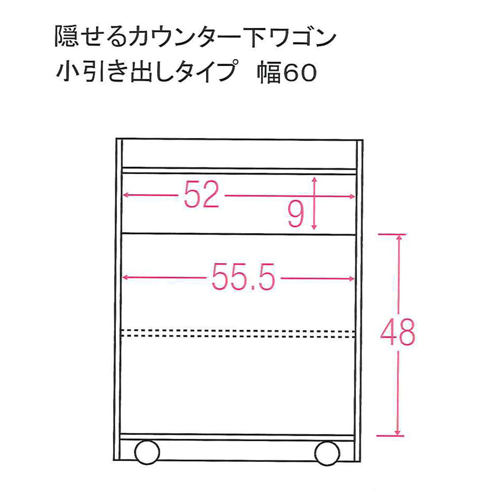 隠せるカウンター下収納 マルチタイプ 幅59高さ80cm 内寸図(単位:cm)
