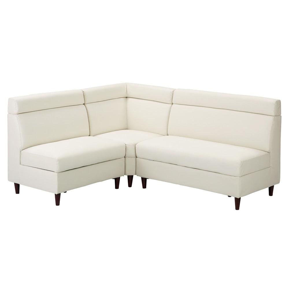 収納付きソファダイニング ソファコーナー 幅74cm 使用イメージ(ア)ホワイト ※お届けは(写真中央)コーナーソファです。