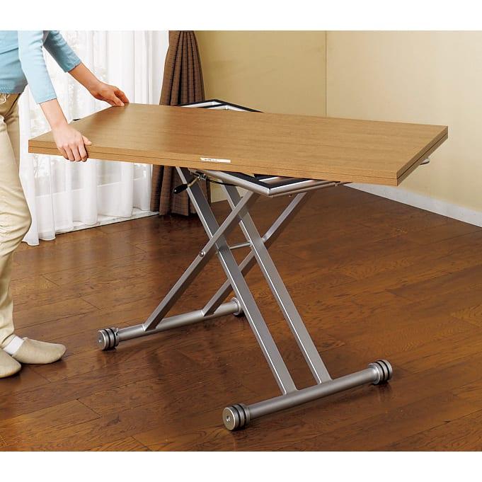 伸長式ガス圧昇降テーブル 幅120(天板110)cm まず、天板を回転させて…