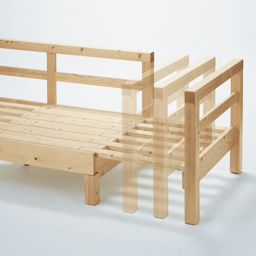 横伸縮ソファベッド 片側をスライドさせるだけで簡単に伸長。