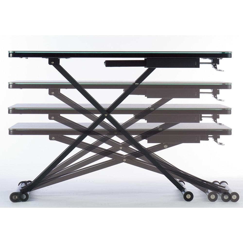 セラミック天板昇降リビングテーブル 上げ下げ簡単な昇降式テーブル。レバーをおさえて天板に力を加え、引き上げるだけ!使いたいシーンに合わせて、無段階で天板位置をセットできます。