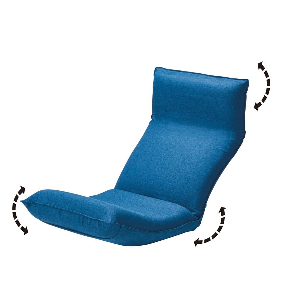 「サイズを選べる」腰にやさしいリラックスチェアII S (オ)ネイビー リクライニングは、「頭部」は無段階、「背もたれ」は41段階、「脚部」は6段階