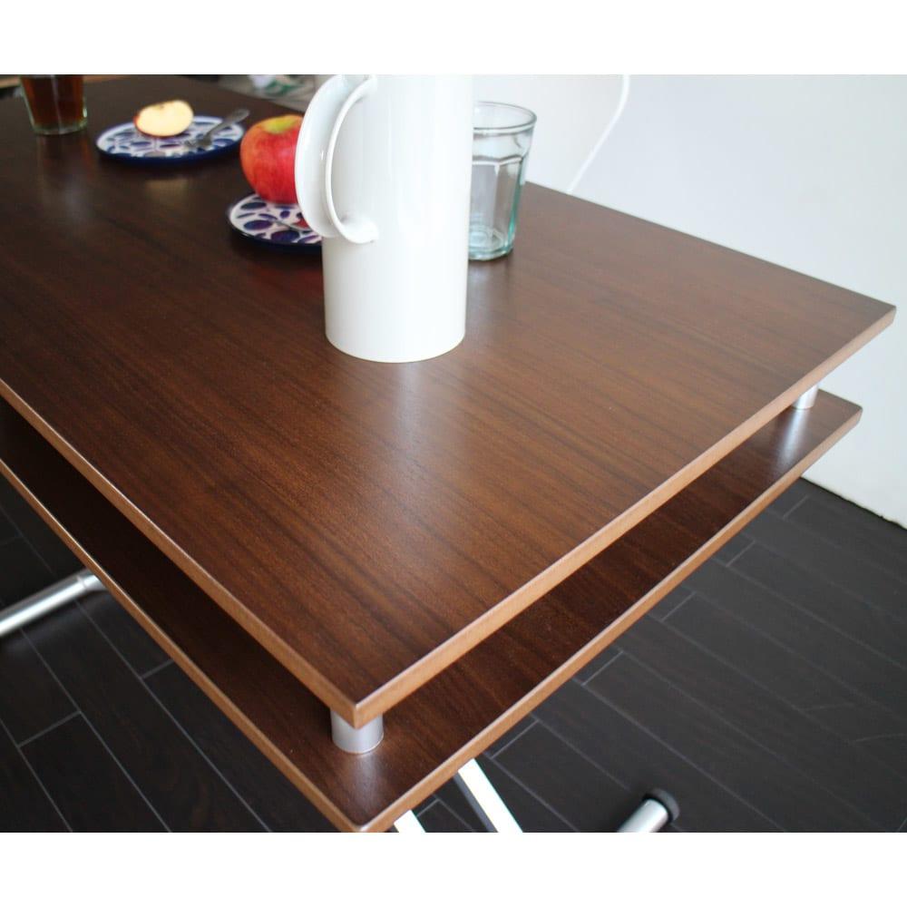 棚付き昇降式テーブル 幅102(天板90)cm ウォルナットの美しい木目