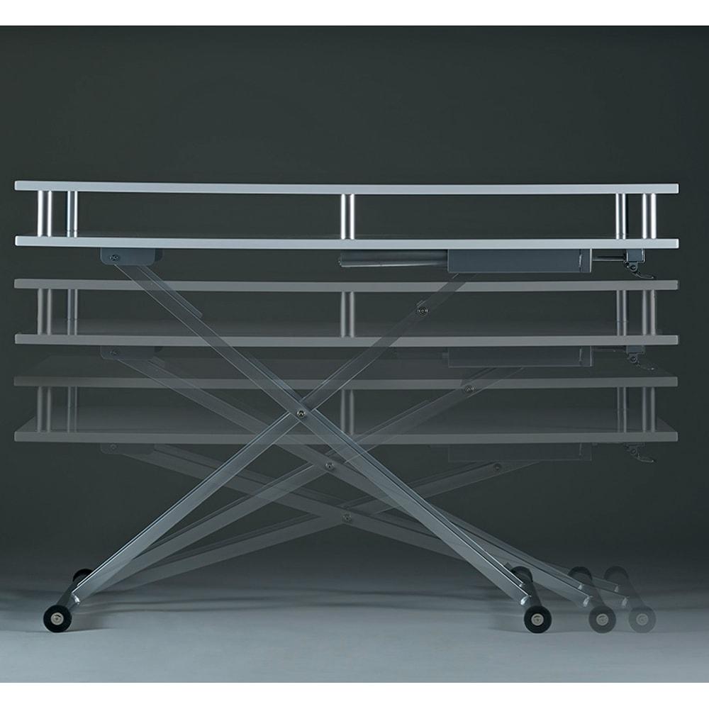 棚付き昇降式テーブル 幅102(天板90)cm ~POINT~ 天板高さは46~81cmまで無段階調節。