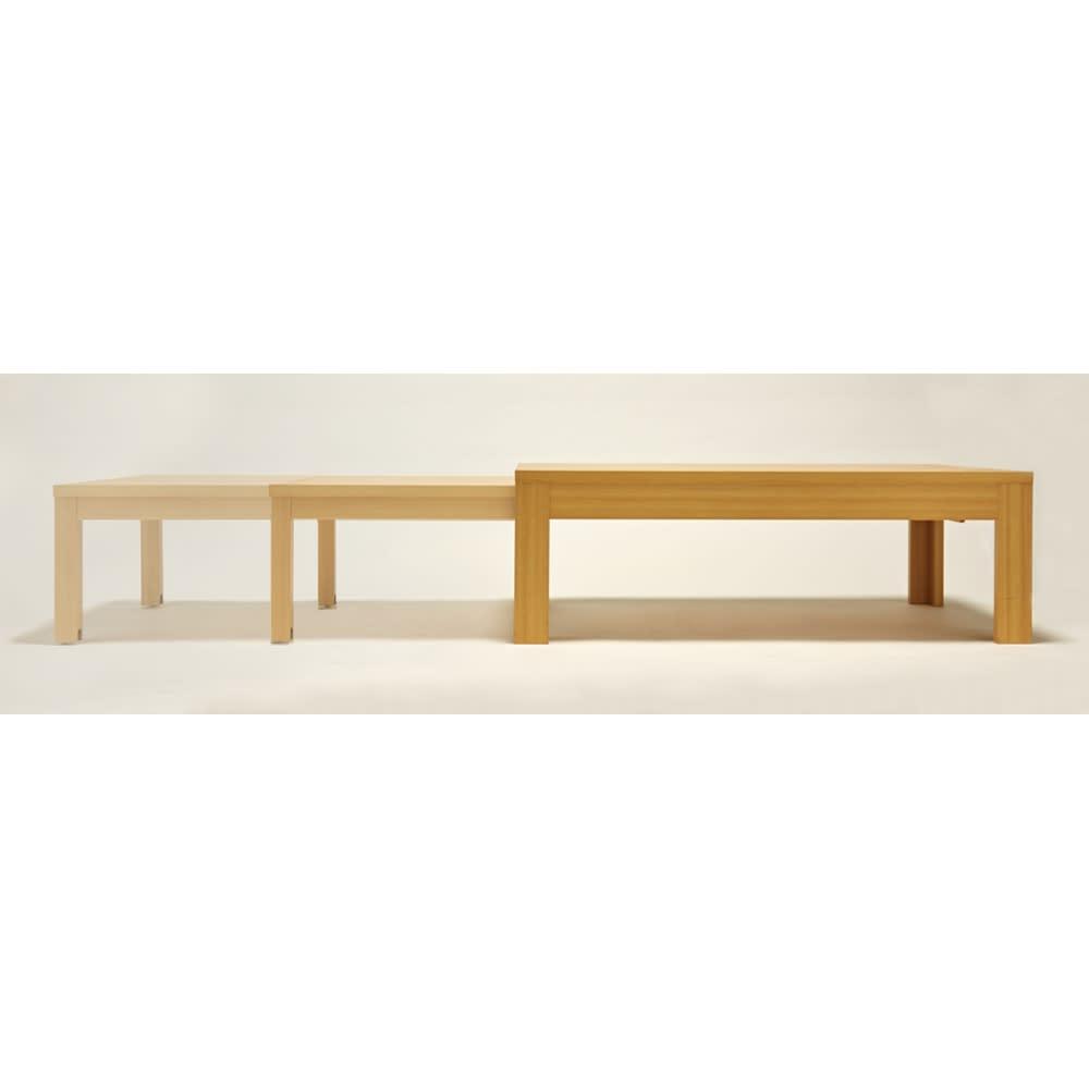 伸長式座卓 幅105~194cm 【必要な幅に細かく調節できるスライド式】無段階調節が可能。伸長部分の脚部に隠しキャスター付きで動きも滑らか。