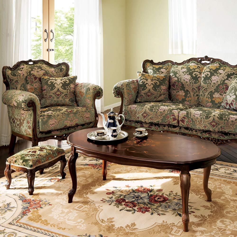 イタリア製 花柄が艶やかな金華山織張 DXソファ ラブ(2人掛け) シリーズ品とのコーディネートで一層華やかなお部屋を演出します。