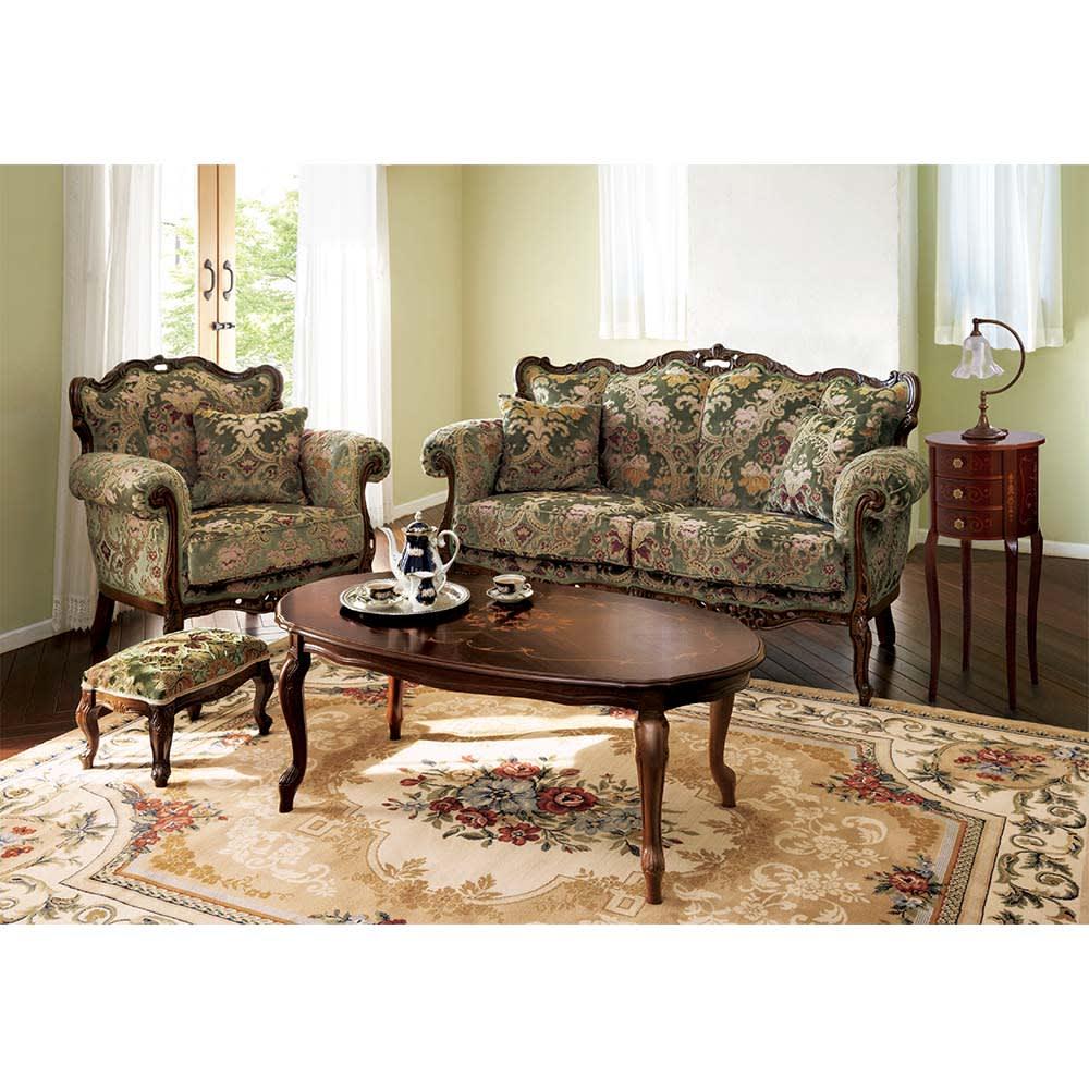 イタリア製象がんシリーズ リビングテーブル 幅117.5cm シリーズ品とのコーディネートで一層華やかなお部屋を演出します。