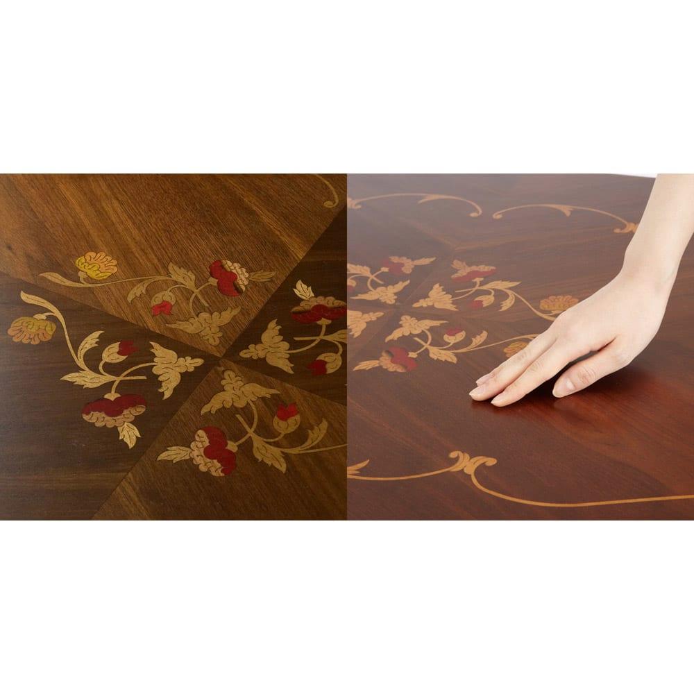イタリア製象がんシリーズ リビングテーブル 幅117.5cm 美しい象嵌が施された天板は滑らかで艶のある触り心地です。