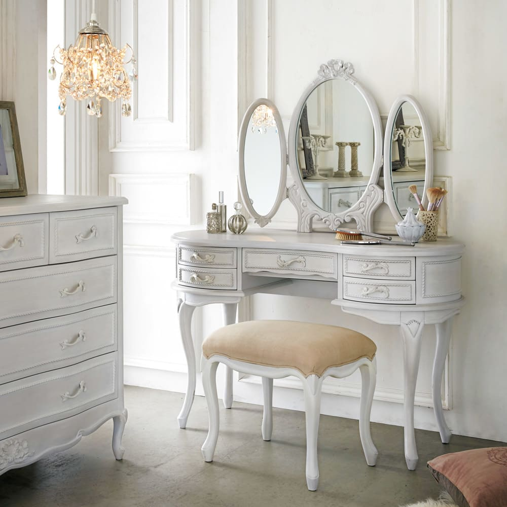 シャビーシック ホワイト フレンチ収納家具シリーズ ドレッサー 女性らしい、憧れのメイクルームをご自宅のリビングやベッドルームに。