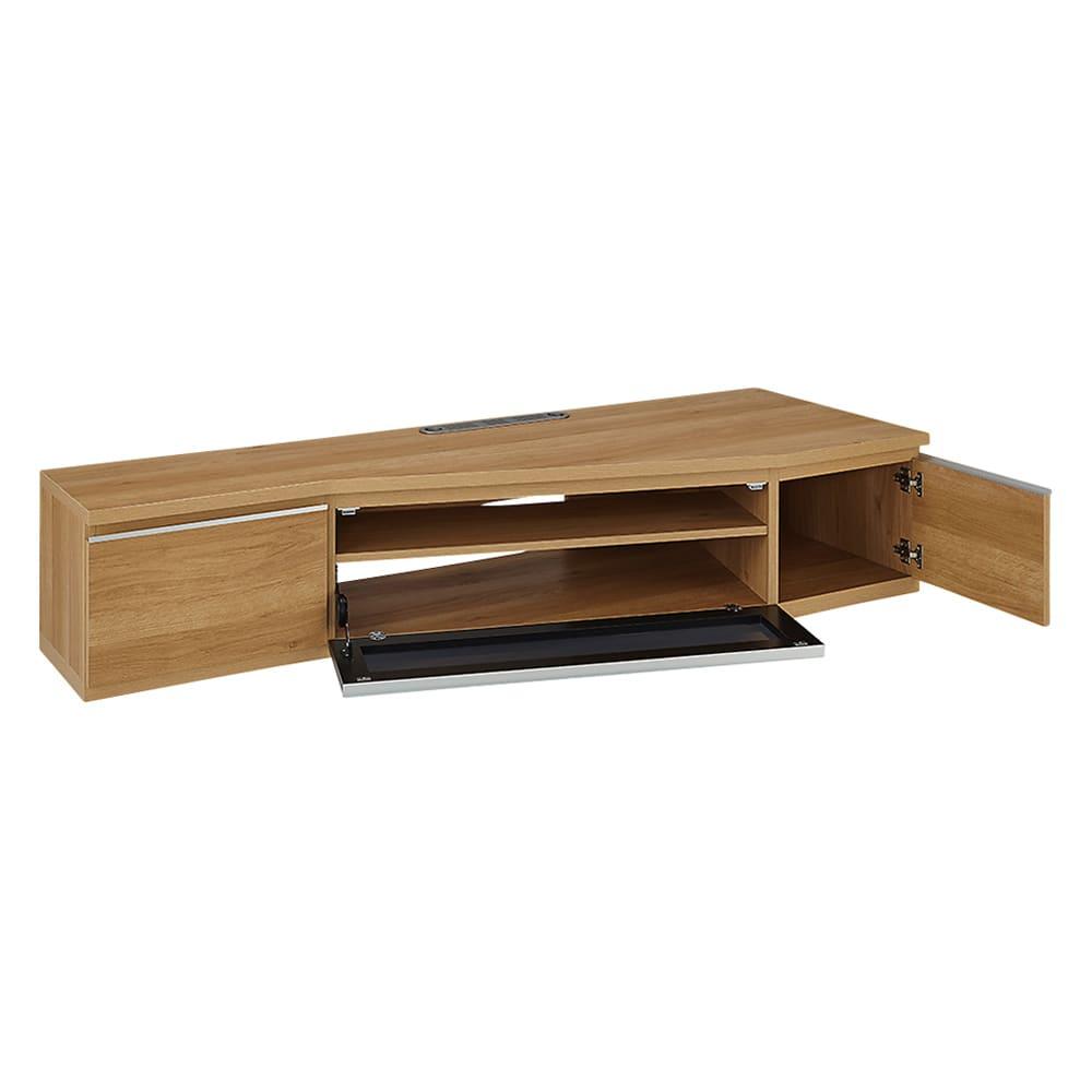 住宅事情を考えた天然木調コーナーテレビ台 右コーナー用 幅165cm (ア)ナチュラル